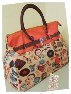Mousse printed bag - 60's style.  Size: L39 x H27 x W18cm   Price: US$79  Material: Polyester
