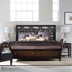 Ludlow Fretwork Storage Platform Bed - Inspired by industrial design, with a flourish of metropolitan chic, the Ludlow Fretwork Storage Bed will make a distinctive impression in you...