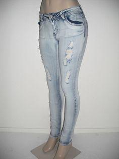 Sweet Look Premium Womens Sexy Fashion Ripped Slim Skinny Light Blue Jeans