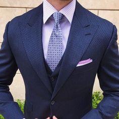 Three piece blue suit. #mensfashion #suits #gentlemen #bespoke #menswear #wedding #groom #groomsmen #menstyle #mensguides #fashion #summerwedding #business #giorgentiweddings