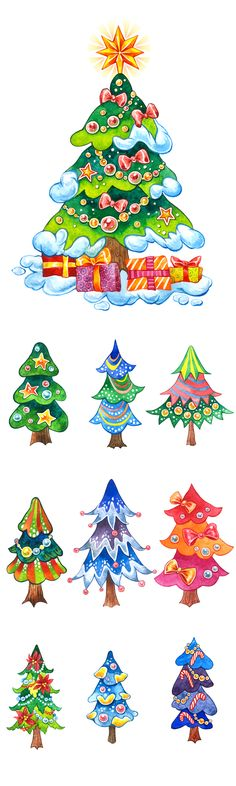 Christmas Tree Clipart, Merry Christmas, Xmas Tree, Elf Clipart, Watercolor Trees, Clip Art, Unique Jewelry, Handmade Gifts, Etsy