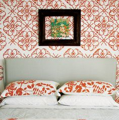 stenciled walls- great idea for a kid's room no peeling off wallpaper...