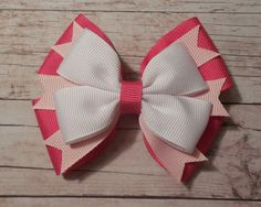 Valentines Day Hair Bow  Pink and White by KathrynsRainBOWtique, $6.00
