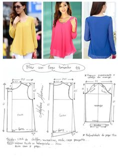 Sewing Make Your Own Clothes 2019 Blouse pattern The post Sewing Make Your Own Clothes 2019 appeared first on Chiffon Diy. Dress Sewing Patterns, Blouse Patterns, Sewing Patterns Free, Clothing Patterns, Blouse Designs, Free Pattern, Pattern Ideas, Pattern Sewing, Costura Fashion