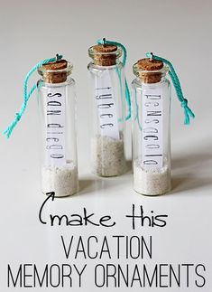 Love these tiny apothecary jars, with sand from our vacations.  Maybe not as ornaments, but to save just a tiny bit, with the little slip saying where. #BeachVacation