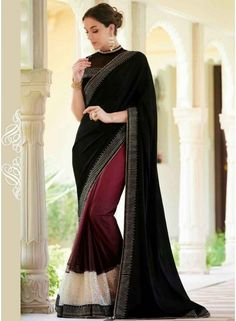 Dazzling Black And Purple Georgette Patch Border Work Saree. Pair With Matching  Blouse. http://www.angelnx.com/Sarees/dazzling-black-and-purple-georgette-patch-border-work-saree_11244