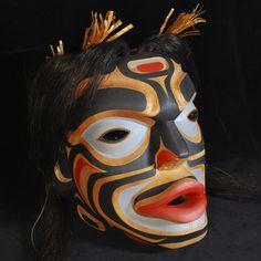 "Mervyn Child (Kwakwaka'wakw, Tlingit, Nuu Chah Nulth) - Dzunukwa mask - red cedar, cedarbark rope, paint, horse hair - 13""x11""x7.5"""