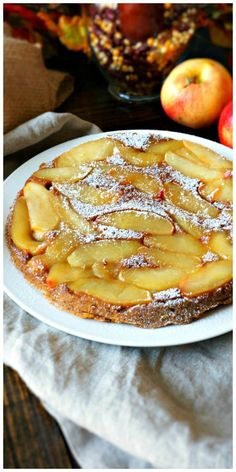 Pumpkin Apple Upside Down Cake: A moist maple pumpkin cake is the base for displaying caramelized apples--creating an incredible marriage of two classic fall flavors. @aldiusa