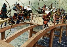 Battle of Uji bridge - La Pintura y la Guerra Japanese History, Asian History, Medieval, Samurai Artwork, Historia Universal, Japanese Warrior, Samurai Warrior, Japanese Prints, Military History