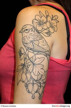 sparrow-arm-tatto Shannon Archuletta - this is close to what I want, I will have to print this out and bring it to my tattoo artist for inspiration, except I want 3 birds and I want all color, no outlines, but this life-like realist look is what im goin for