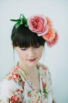 DIY garden rose flower crown. Captured By: Lara Kimmerer ---> http://www.weddingchicks.com/2014/05/28/3-garden-rose-diys-youll-love-from-blue-jar-events/
