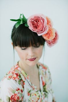 DIY garden rose flower crown. Captured By: Lara Kimmerer ---> http://www.weddingchicks.com/2014/05/28/3-garden-rose-diys-youll-love-from-blue-jar-events/