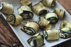 Zucchini and goat cheese rolled for a quick appetizer.