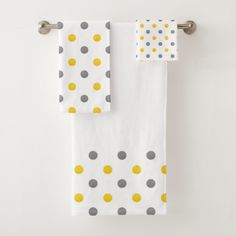 Yellow And Gray Watercolor Polka Dots Bath Towel Set Zazzle Com Towel Set Bath Towel Sets Decorative Bath Towels
