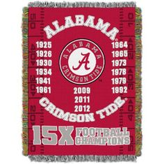 Ncaa 48 inch x 60 inch Commemorative Series Tapestry Throw, Alabama, Multicolor