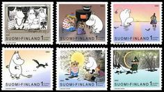 more moomin stamps :) Finland Postage Stamps, Moomin Valley, Tove Jansson, Whimsical Fashion, Children's Book Illustration, Stamp Collecting, Mail Art, Going Postal, Poster