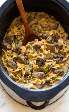 BEST Slow Cooker Beef Stroganoff. This healthy crock pot dinner is easy, creamy, and made without canned soup! A family favorite recipe.