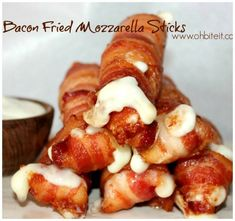 Bacon Fried Mozzarella Sticks...these are the BEST Football Party Food Recipe Ideas! Bacon Recipes, Low Carb Recipes, Appetizer Recipes, Appetizers, Cooking Recipes, Party Recipes, Deep Fryer Recipes, Milk Recipes, Cooking Tips