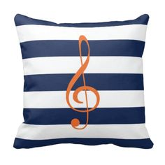 Music themed throw pillow for boys and girls. Treble clef gift for kids. Preppy accent pillow. Sofa pillow. Music bedding and bedroom decor for kids & teens.