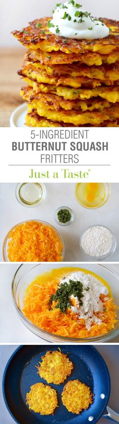 Butternut Squash Fritters Recipe Substitute coconut flour or almond flour and coconut oil for a healthier option. Use egg replacer Cooked Vegetable Recipes, Vegetable Korma Recipe, Spiral Vegetable Recipes, Vegetable Dishes, Veggie Recipes, Baby Food Recipes, Vegetarian Recipes, Vegetable Samosa, Vegetable Spiralizer