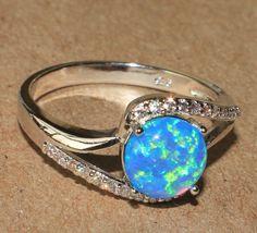 blue fire opal Cz ring gemstone silver jewelry Sz 8.5 elegant cocktail design GW #Cocktail