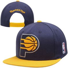 Mitchell   Ness Indiana Pacers XL Logo 2-Tone Snapback Adjustable Hat -  Navy Blue Gold 1c34d66aa8ec