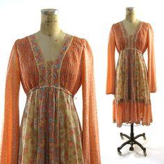70s Festival Dress / Gunne Sax Inspired / Prairie by SpunkVintage