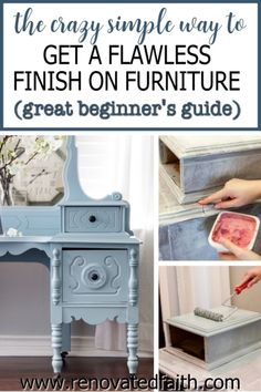 Whether your style is whimsical, funky or farmhouse, here's the easiest way to refinish antique furniture without brush strokes or streaks. This post & video tutorial also explains how to spray furniture knobs and handles with metallic spray paint. Included are color ideas & the best kind of paint for wood furniture: chalk paint vs. milk paint vs. latex paint. I also address if you can paint furniture without sanding. Diy Furniture Projects, My Furniture, Farmhouse Furniture, Repurposed Furniture, Unique Furniture, Vintage Furniture, Furniture Design, Rustic Furniture, Refurbished Furniture