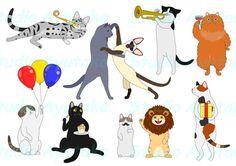 Etsy のSet of cute and funny partying cats(ショップ名:StudioAyutaka)