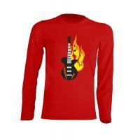 Camiseta Manga Larga Guitarra Roja