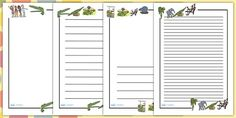 We love page borders! These ones are The Enormous Crocodile themed and are great for encouraging and inspiring your children during independent writing activities. Interactive Activities, Writing Activities, Primary Resources, Teaching Resources, The Enormous Crocodile, Page Borders, Eyfs, Lesson Plans, Your Child
