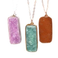 new druzy vertical bar stone necklaces! how do you pick a favorite?!