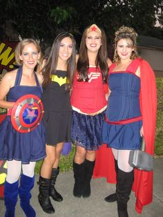 #super hero costumes (left to right) capt. America, bat girl, wonder woman, Thor!