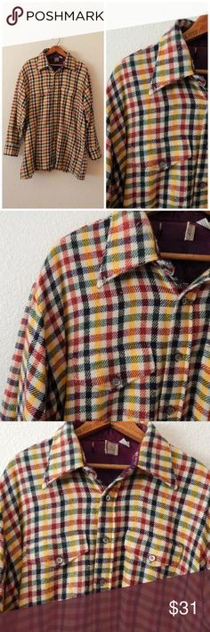 """Vintage 80s Mens Checked Button Up Flannel Coat Vintage 80s Mens Checked Multicolor Button Up Flannel Barn Coat   By Hahnes 100% Acrylic Machine Wash Hang Dry Seam Lining Tear Tag Size XLarge ( 17-XL-17 1/2)  Chest circumference: 54"""" Length: 30.5"""" Sleeve length: 22"""" Shoulder to shoulder: 20.5"""" Vintage Shirts Casual Button Down Shirts"""