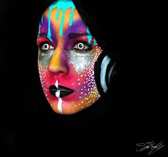 psychedelic makeup - The CrazyCool Neon Makeup Transformation You Have to See Uv Makeup, Movie Makeup, Scary Makeup, Runway Makeup, Awesome Makeup, Psychedelic Makeup, Mascaras Halloween, Arte Cyberpunk, Theatrical Makeup