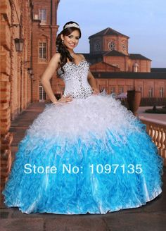 Unique Quinceanera Dresses 2014 vestidos de 15 Ball Gown sweetheart Sequins Long White/Turquoise Tulle/ Satin sweet 16 dresses US $189.00