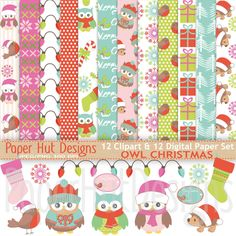 Christmas Digital Papers-Christmas Clipart-Holiday-Owl-Hedgehog-Snowflakes-Stocking-Red, Pink, Green and Aqua-For Personal or Commercial use by PaperHutDesigns on Etsy
