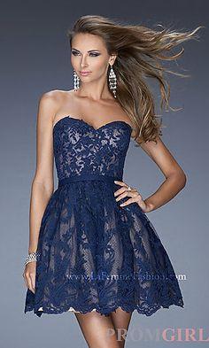 Short Strapless Lace La Femme Dress 20451 at PromGirl.com