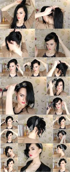Hairstyle Tutorial: Easy Updo using Bandana. (Back comb your hair, twist and pin the back, pin bangs to your forehead. Curl your hair section by section. Take hair, twist and pin into a messy top knot bun.Fold the head band, wrap and twist in a knot above the top of head).