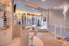 This is the 3,000 sq. ft., 3-story master closet in a mansion in The Woodlands, Texas.
