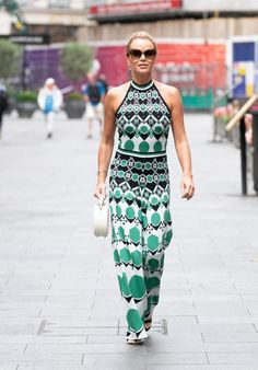 Amanda Holden wearing a haltered printed jumpsuit | For more style inspiration visit 40plusstyle.com