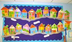 Making houses link to shape Maths Display, Class Displays, School Displays, Classroom Displays Eyfs, Preschool Classroom, Classroom Decor, Nursery Activities, Map Activities, Activities For Kids