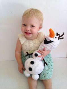 Olaf inspired amigurumi crochet snowman toy by CrochetForMadilyn