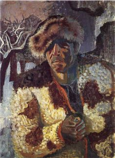 Otto Dix (German 1891–1969) [Expressionism, Neue Sachlichkeit] Self-portrait with a fur cap.