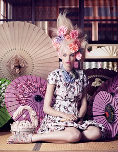 Florals and Geisha Umbrella Fashion photography (For More Chic Fashion, Check Out The Boards From Katelyn Adair!)
