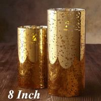 Moving Flame 8 Inch Gold Mercury Glass Flameless Cylinder Candle -Timer