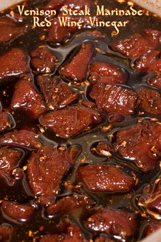 Garlic, bay leaves, red wine, herbs and more are combined to make this mouthwatering marinade. It is perfect for enhancing the gamey taste of venison.