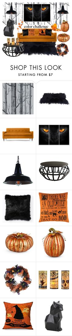 """Orange and Black Colour Challenge ~ Halloween"" by rebecca-miller-4 ❤ liked on Polyvore featuring interior, interiors, interior design, home, home decor, interior decorating, Cole & Son, Thrive, Tribecca Home and West Elm"