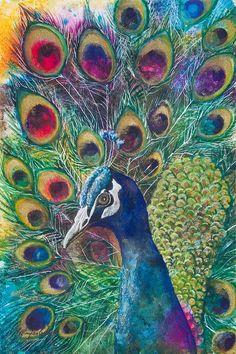Pavão- Peacock Mixed Media - Golden Peacock by Patricia Allingham Carlson Peacock Wall Art, Peacock Painting, Watercolor Peacock, Peacock Print, Peacock Canvas, Peacock Images, Peacock Pictures, Bird Art, Medium Art