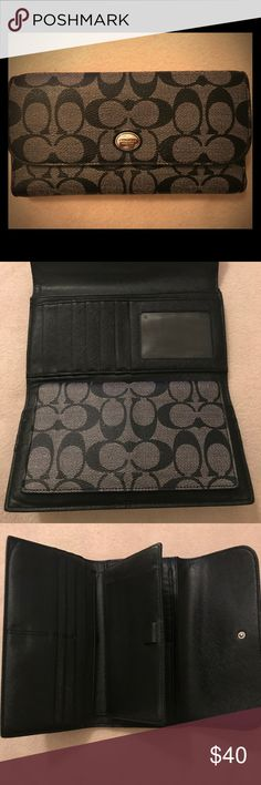 Authentic Coach Wallet Black & Static Gray Coach wallet, no tears or marks, checkbook holder & several card slots with pockets. Well kept. Coach Bags Wallets